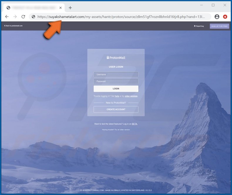 ProtonMail email scam phishing website