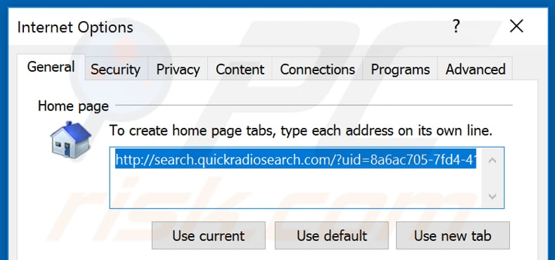 Removing search.quickradiosearch.com from Internet Explorer homepage