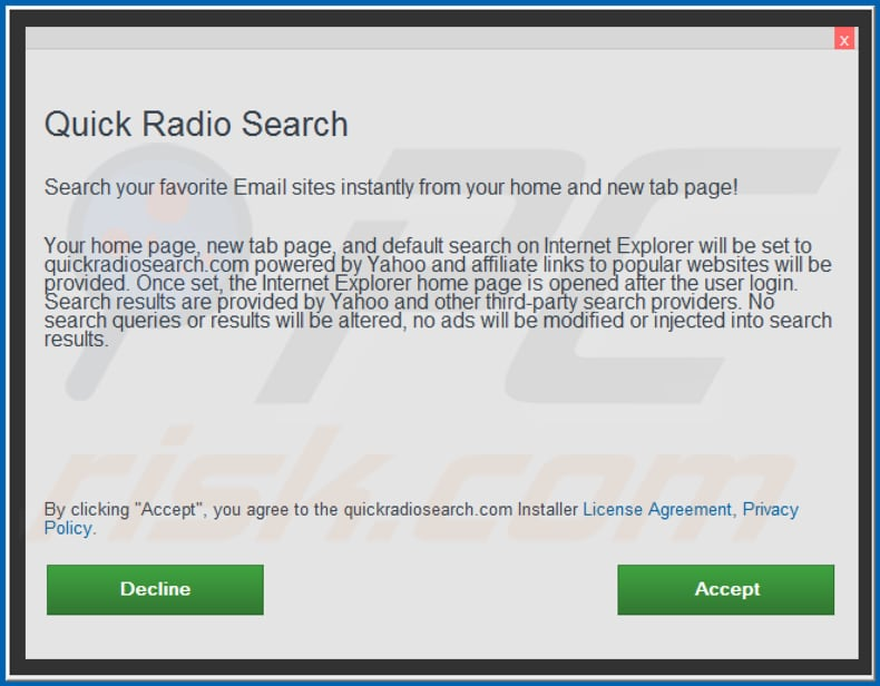 Official Quick Radio Search browser hijacker installation setup