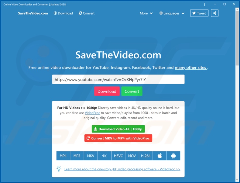 Appearance of the software promoted by savethevideo[.]com