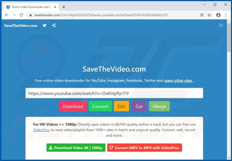 savethevideo[.]com pop-up redirects
