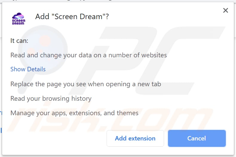 screen dream browser hijacker asks for a permission to be installed