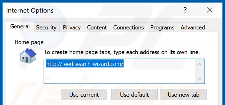 Removing feed.search-wizard.com from Internet Explorer homepage