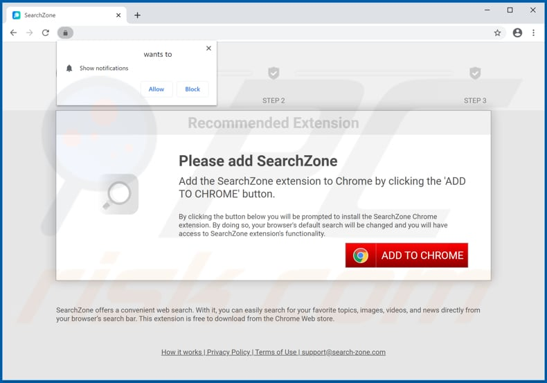 Website used to promote SearchZone browser hijacker