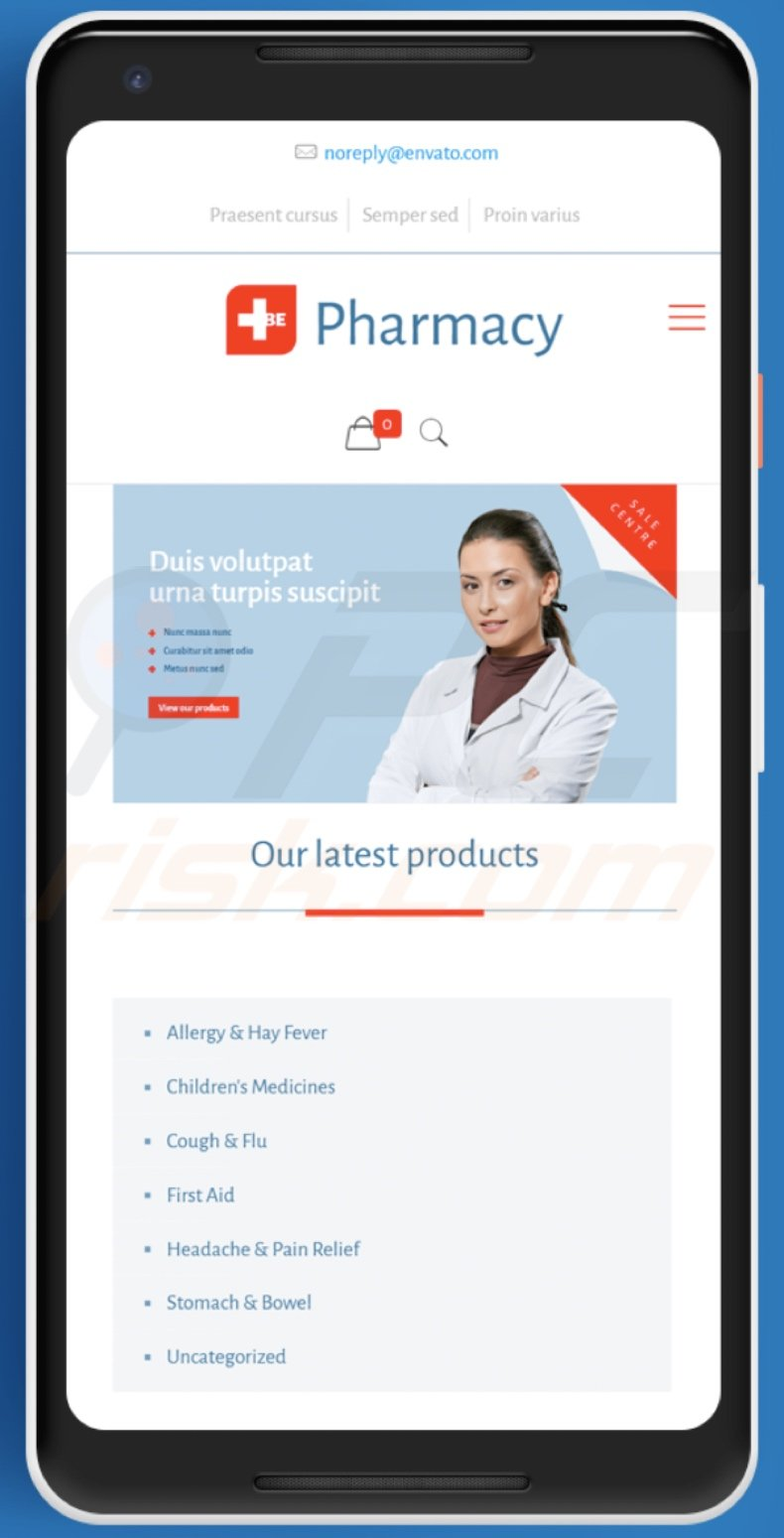 Fake pharmacy website used to proliferate SpyMax malware