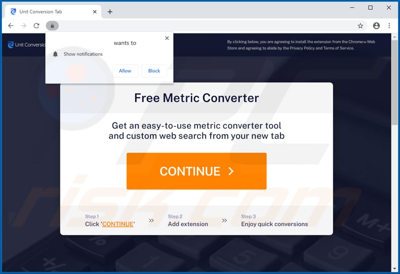 Website used to promote Unit Conversion Tab browser hijacker
