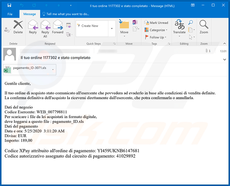 Spam email used to spread Ursnif trojan (2020-05-25)