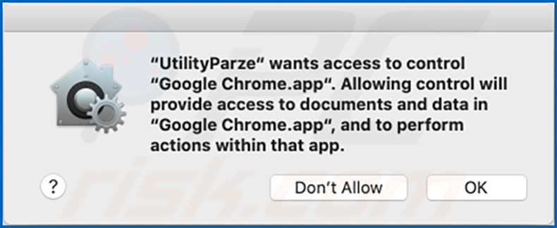 UtilityParze pop-up window