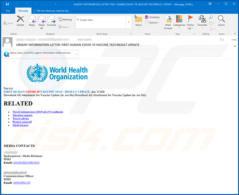 Fake World Health Organization (WHO) spreading Agent Tesla RAT
