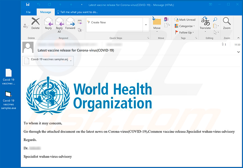Fake World Health Organization spam email spreading FormBook trojan