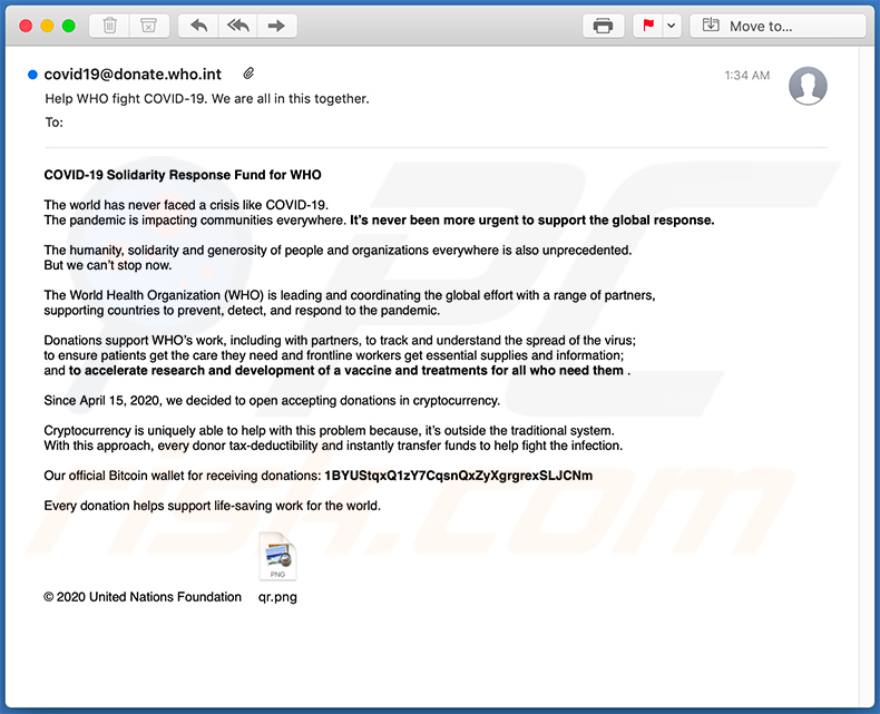World Health Organization (WHO) scam email