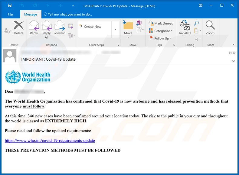 Scam email presented as a notification from WHO