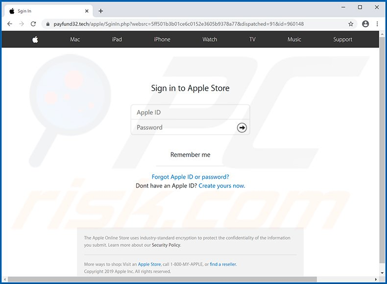 Fake Apple website used for phishing purposes (payfund32.tech)