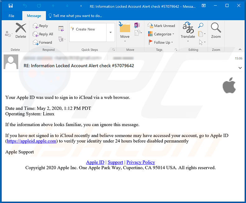 Apple iCloud-related phishing email