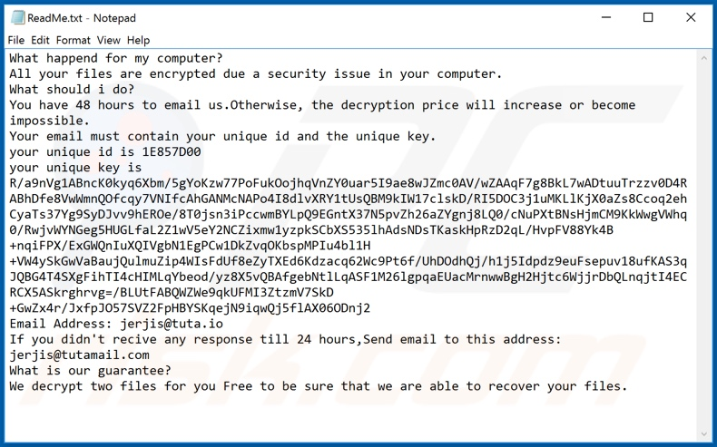 Banks1 ransomware text file (ReadMe.txt)