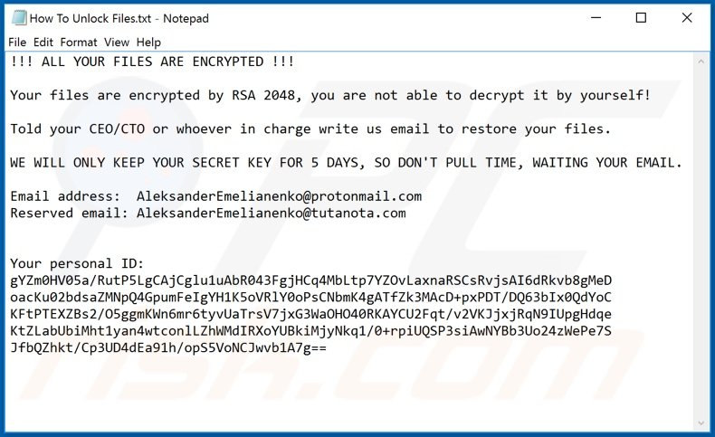 ColdLock decrypt instructions (How To Unlock Files.txt)