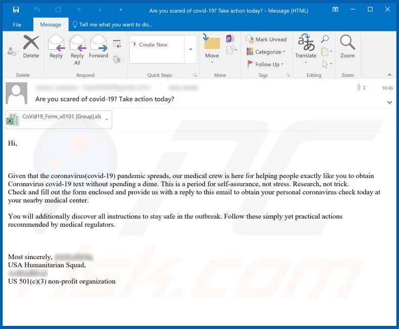 Variant of the COVID-19 test malware-spreading email spam campaign