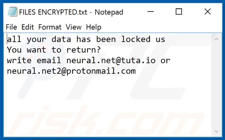 .NET (Dharma) ransomware text file (FILES ENCRYPTED.txt)