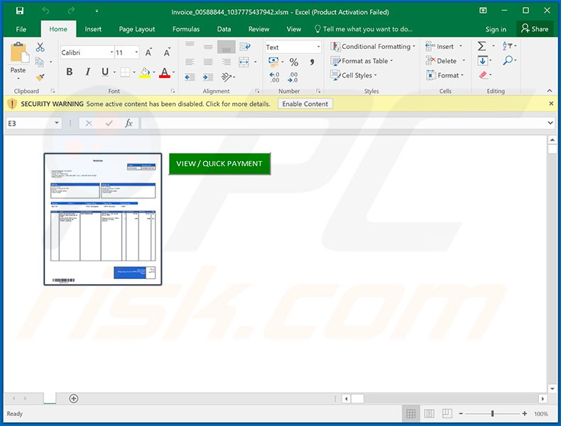 Malicious Microsoft Excel document (Invoice_00588844_1037775437942.xlsm) used to inject Dridex malware into the system