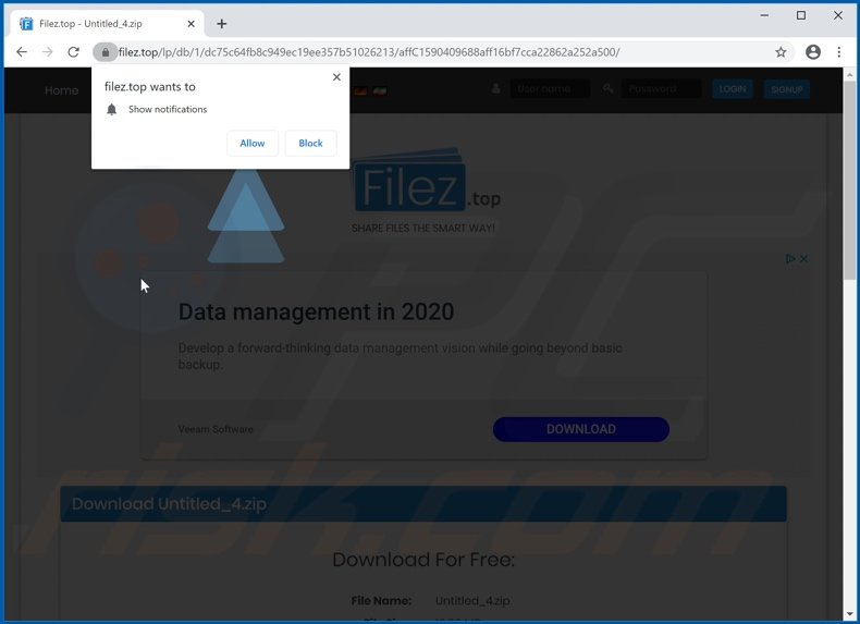 filez[.]top asking to enable notifications