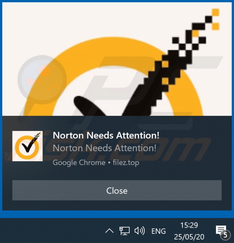 Norton Subscription scam advertisement provided by filez[.]top