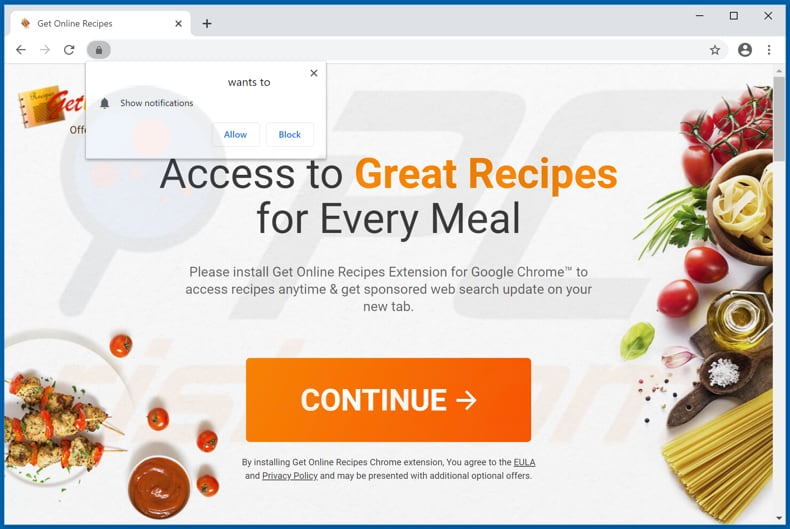 Website used to promote Get Online Recipes browser hijacker
