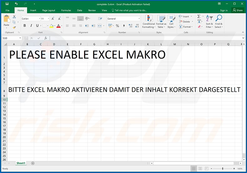 Malicious MS Excel document used to inject GuLoader malware (2020-05-12)