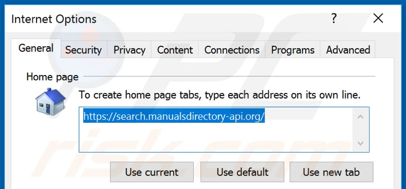 Removing search.manualsdirectory-api.org from Internet Explorer homepage