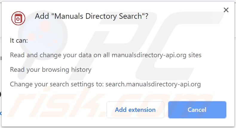 manuals directory search browser hijacker asks for a permission to be installed