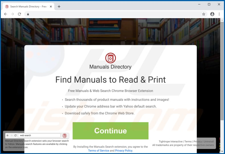 Website used to promote Manuals Directory Search browser hijacker