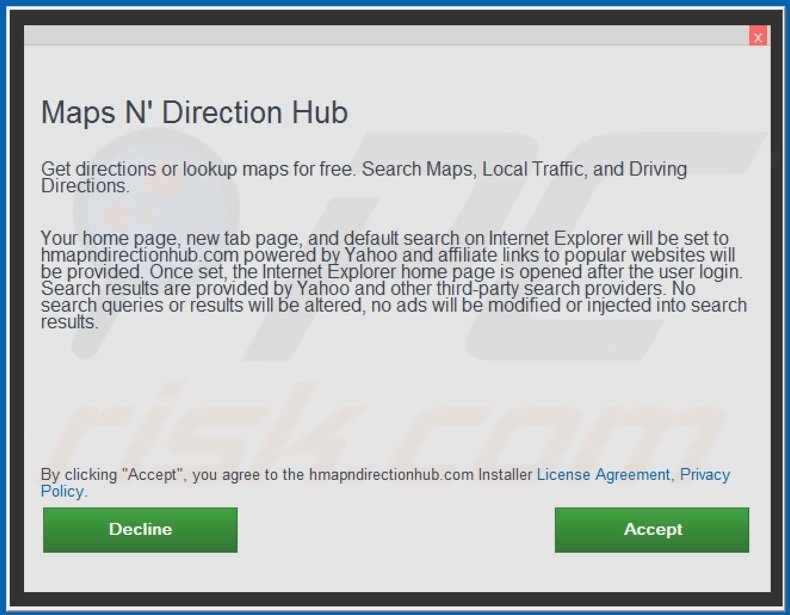 Official Maps N Direction Hub browser hijacker installation setup