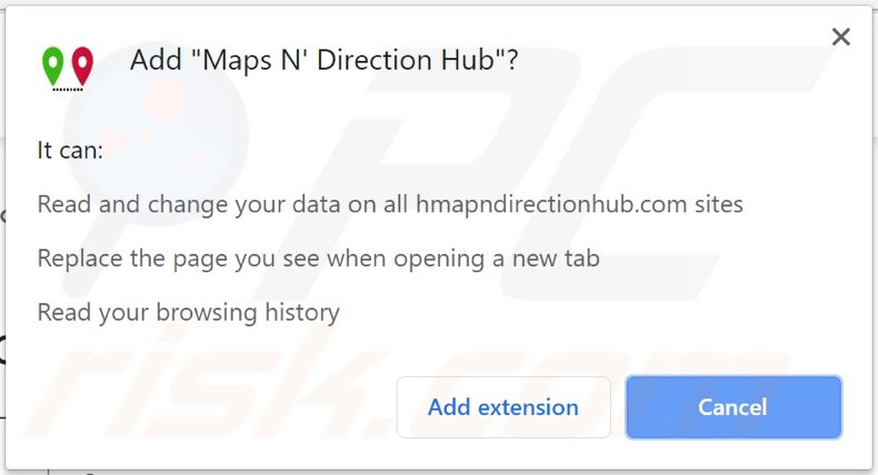 Maps N' Direction Hub browser hijacker asking for permissions
