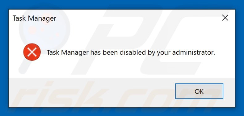 Mpal ransomware pop-up stating that task manager is disabled