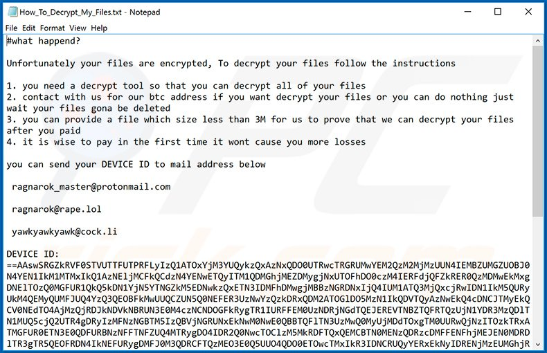 Updated Ragnarok ransomware ransom note (How_To_Decrypt_My_Files.txt)