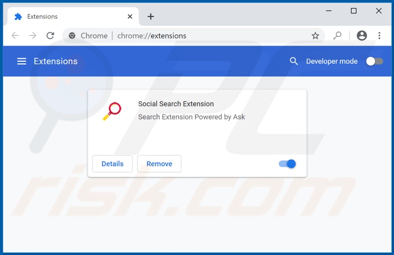 Removing socialsearch.com related Google Chrome extensions