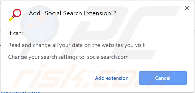 social search browser hijacker asks for a permission to be installed