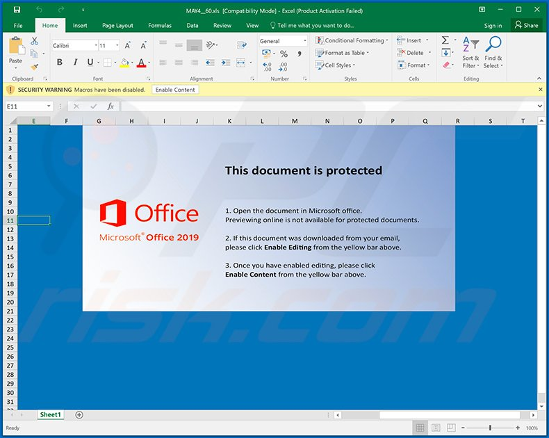 Ursnif trojan-spreading MS Excel document (MAY4__60.xls)