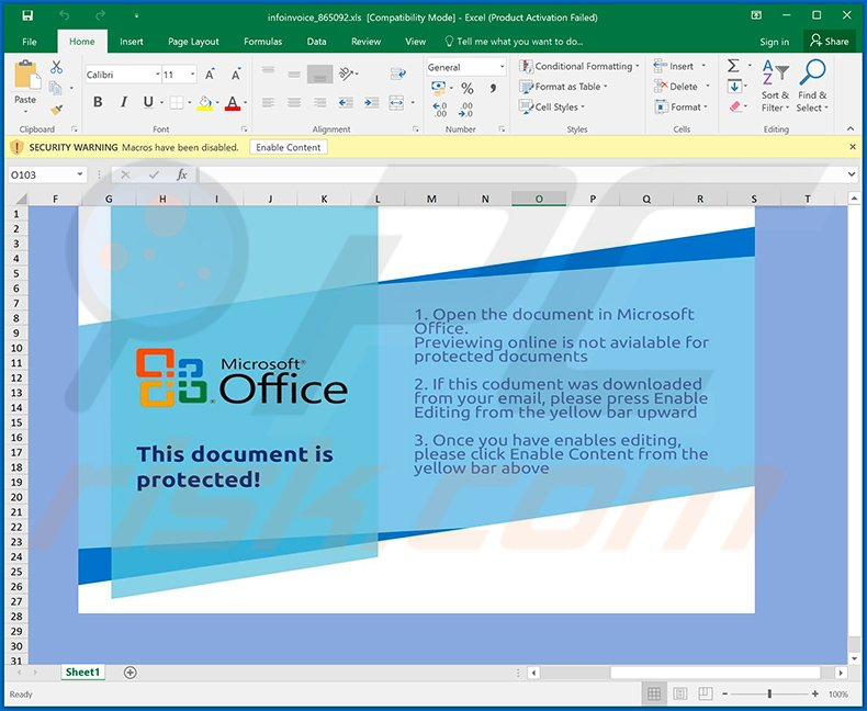 Ursnif trojan-spreading MS Excel document (infoinvoice_865092.xls)