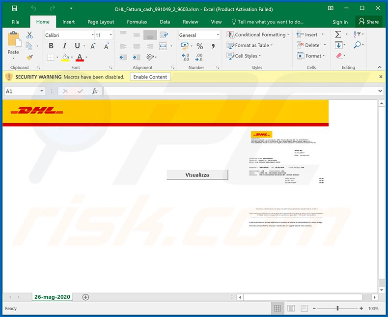 Ursnif trojan-spreading MS Excel document (DHL_Fattura_cash_991049_2_9603.xlsm)