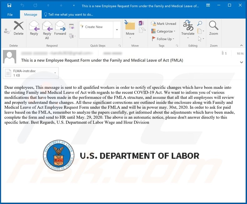 U.S Department of Labor malware-spreading email spam campaign