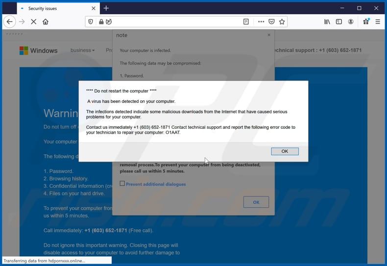 A virus has been detected on your computer scam