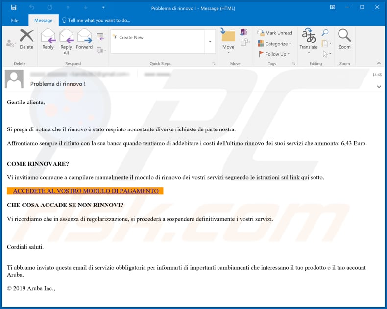 Aruba.it Email Scam email spam campaign