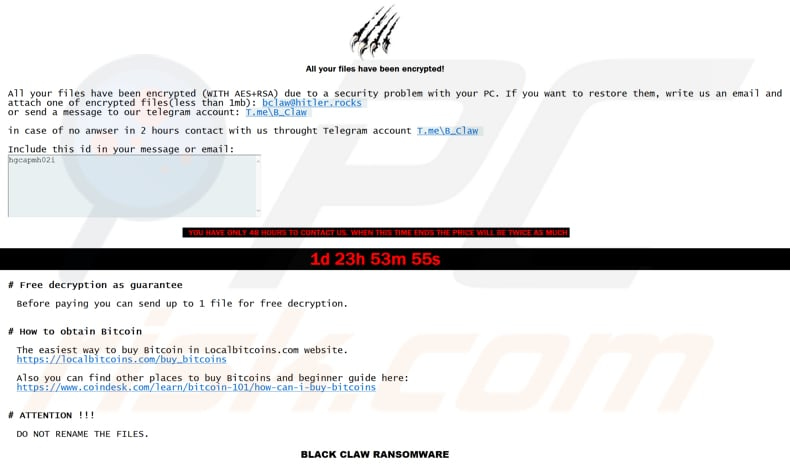 Black Claw decrypt instructions (RECOVER YOUR FILES.hta)