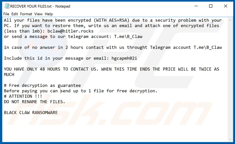 Black Claw ransomware text file (RECOVER YOUR FILES.txt)