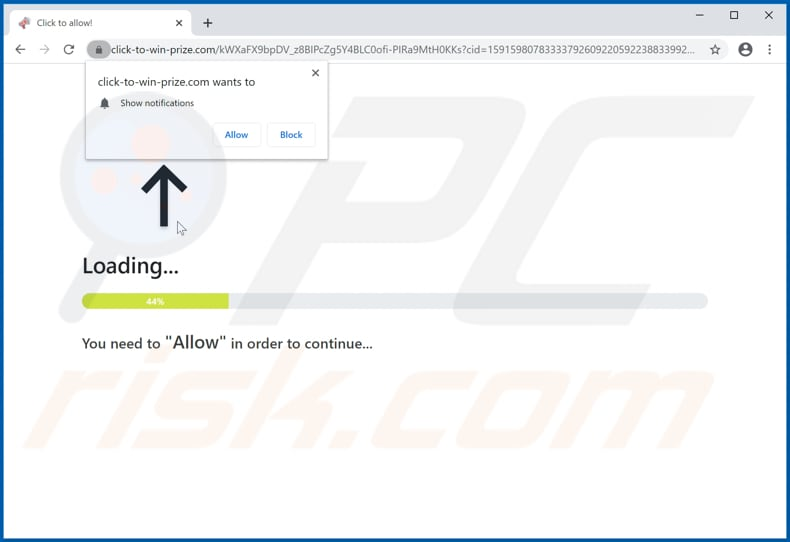 click-to-win-prize[.]com pop-up redirects