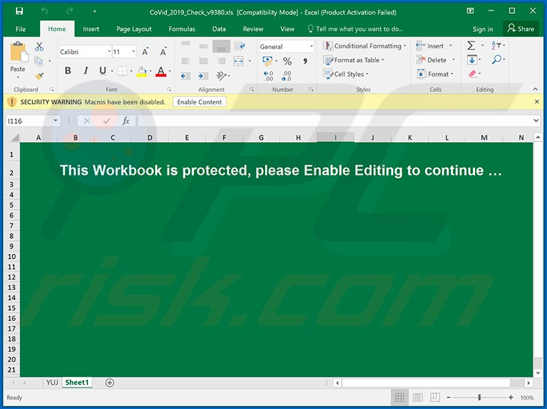 Malicious MS Excel document spreading TrickBot trojan (distributed via Coronavirus-themed spam email)