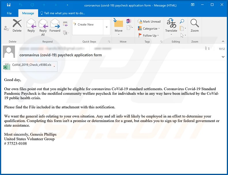 Coronavirus-themed spam email spreading TrickBot trojan