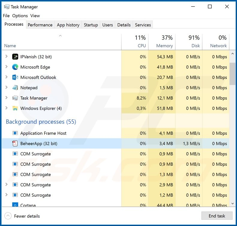 Agent Tesla malware process on Task Manager (BeheerApp)