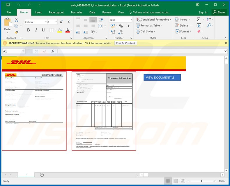 Malicious Excel document used to inject Dridex malware into the system
