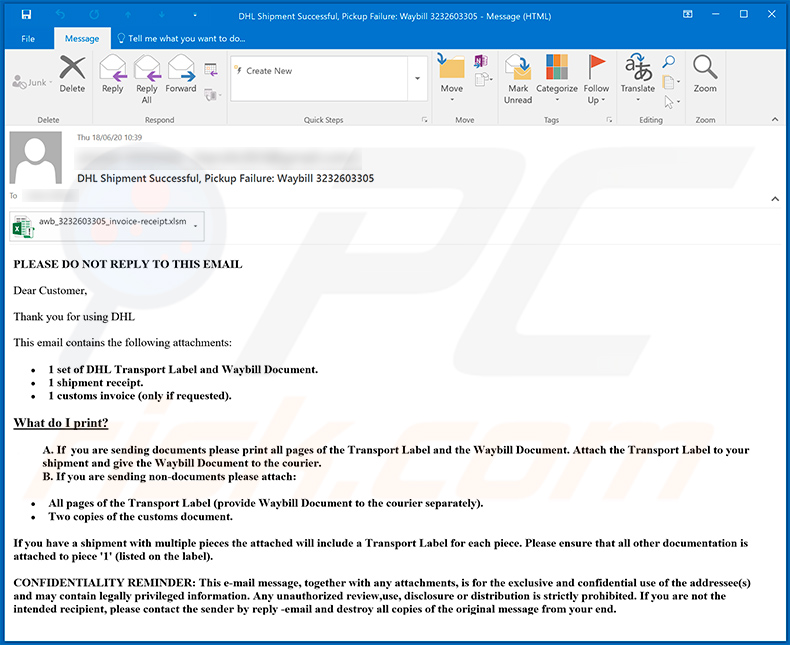 DHL-themed spam email used to spread Dridex malware